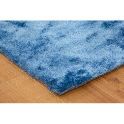 ラグ W190xD130cm ブルー 裏面すべり止め加工 フロアラグ マット フロアマット 絨毯 カーペット シャギーラグ