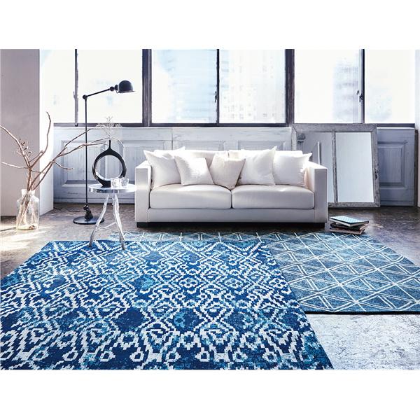 ラグ カーペット イギー130 ブルー系・グレー系 コブラン織り 130x190cm