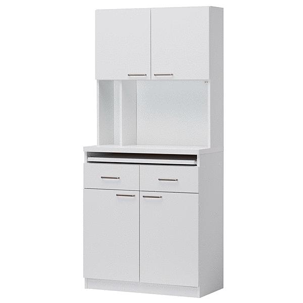 食器棚 ビジネスキッチン オフィスキッチン レンジ台 スライド棚 2口コンセント付 キッチン収納 レンジボード 給湯室 ホワイト 白 オフィス 事務所