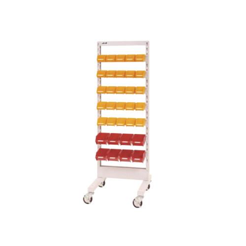 パーツ収納 パーツハンガー 間口60cm 収納箱 小25個・中8個付き 片面型 移動式
