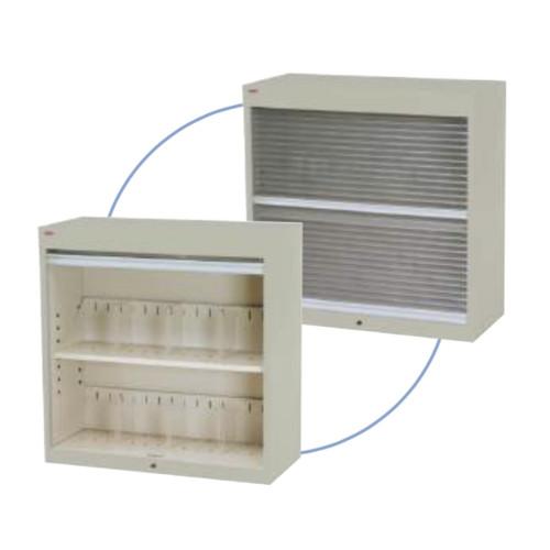 シャッター付ファイル収納庫 段数2段 書類整理庫 H50cmタイプ 仕切板3枚付 上置き専用