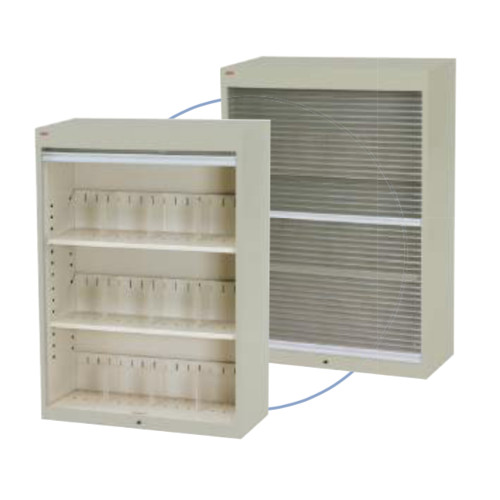シャッター付ファイル収納庫 段数3段 書類整理庫 H124cmタイプ 仕切板3枚付 上置き専用
