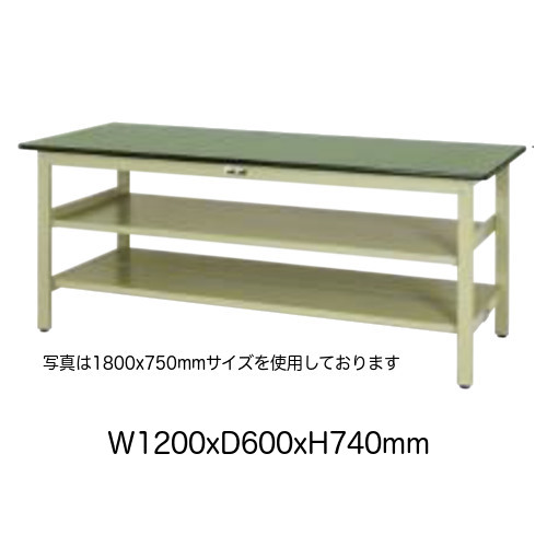 作業台 テーブル ワークテーブル ワークベンチ 120cm 60cm 固定式 中間棚(大)付き 耐荷重 300kg 塩ビシート 天板 工場 作業場 軽量 天板耐熱80度