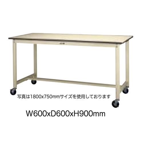作業台 テーブル ワークテーブル ワークベンチ 60cm 60cm キャスター 移動式 ハイタイプ 耐荷重 160kg 塩ビシート 天板 工場 作業場 軽量 天板 耐熱80度 ワンタッチ 100φ ゴムキャスター