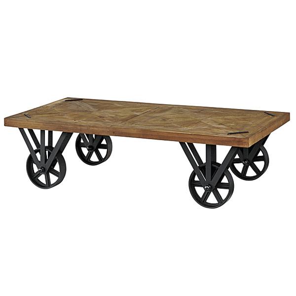 テーブル センターテーブル トロリー リビングテーブル おしゃれ かっこいい 存在感 西海岸 アイアン 天然木 一人暮らし