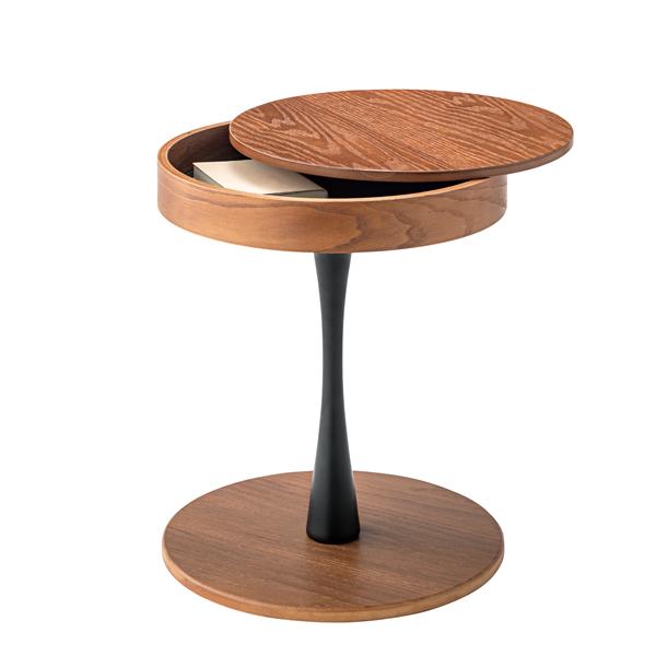 サイドテーブル テーブル 丸天板 天板下収納スペース おしゃれ 机 かっこいい 収納 木製 スチール脚 丈夫 インテリア 家具