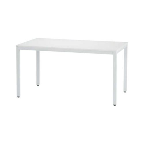 テーブル ダイニング ミーティング 安い おすすめ 北欧 おしゃれ スチール 木製 かっこいい 幅135 角脚 ホワイト 白