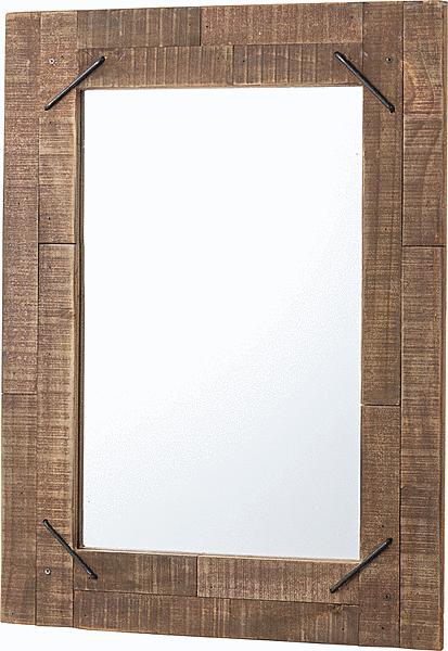 ミラー ウッドミラー 壁掛け おしゃれ かっこいい 木枠 木製 インテリア 天然木 アイアン おすすめ ラッカー塗装