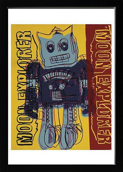 アートパネル アートポスター 絵画 インテリア ポスター タペストリー 壁掛け アートフレーム ウォールアート アートボード ポップアート インテリアアート モノトーン モノクロ アンティーク シンプル 北欧 おしゃれアンディー ウォーホル Moon Explorer Robot