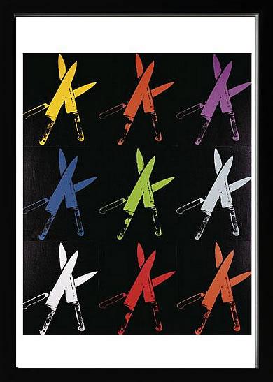 アートパネル アートポスター 絵画 インテリア ポスター タペストリー 壁掛け アートフレーム ウォールアート アートボード ポップアート インテリアアート モノトーン モノクロ アンティーク シンプル 北欧 花 おしゃれアンディー ウォーホル Knives, 1981-82 (multi)