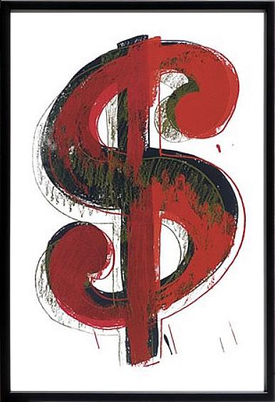 【絵画 アートパネル 壁掛け 専門店】アートフレーム/アートポスター ポップアート アンディー・ウォーホル Dollar Sign, 1981(アートパネル アートフレーム アートポスター 絵画 インテリア ポスター 壁掛け)