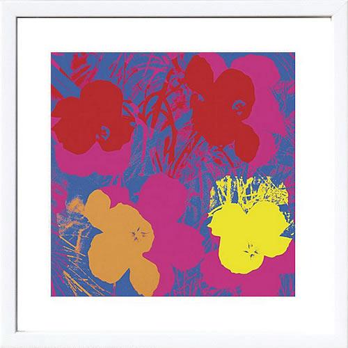 アートパネル アートポスター 絵画 インテリア ポスター タペストリー 壁掛け アートフレーム ウォールアート アートボード ポップアート インテリアアート モノトーン アンティーク シンプル 北欧 花アンディー ウォーホル Flowers(Red,Yellow,Orange on Blue)