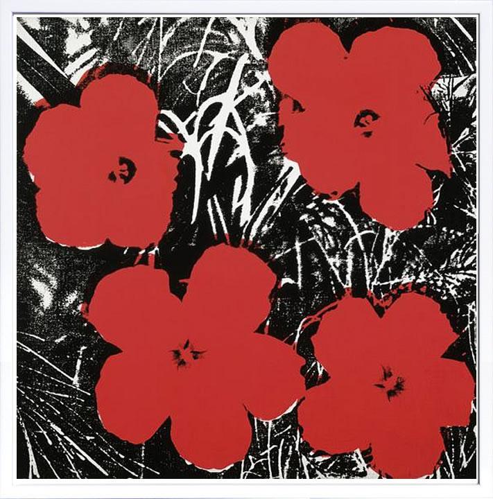 アートパネル アートポスター 絵画 インテリア ポスター タペストリー 壁掛け アートフレーム ウォールアート アートボード ポップアート インテリアアート モノトーン モノクロ アンティーク シンプル 北欧 花 おしゃれアンディー ウォーホル Flowers(Red)