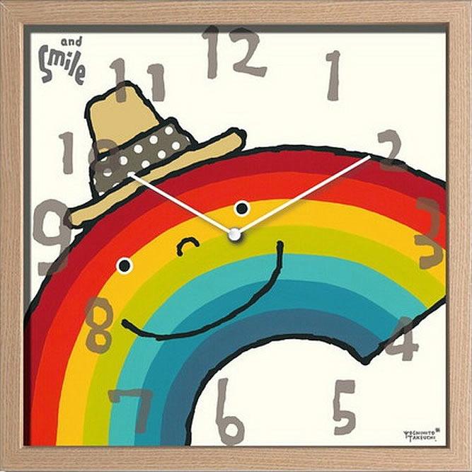 壁掛け時計 掛け時計 ウォールクロック アーティストクロック 武内 祐人 虹 電波時計ではありません おしゃれ シンプル 北欧 木製 かわいい 造花 デザイナーズ アンティーク ギフト 御祝 新築祝い モダン