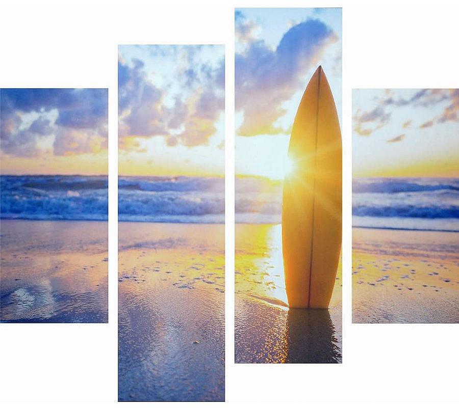 アートパネル アートポスター 絵画 タペストリー 壁掛け アートフレーム ウォールアート アートボード ファブリックパネル モノトーン モノクロ デザイナーズ アンティーク シンプル モダン 北欧 おしゃれキャンバスアート 夕暮れのビーチとサーフボード 4枚セット