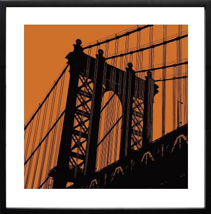 【絵画 アートパネル 壁掛け 専門店】アートフレーム/アートポスター エリン・クラークOrange Manhattan(アートパネル アートフレーム アートポスター 北欧 絵画 インテリア ポスター 壁掛け)【0824カード分割】