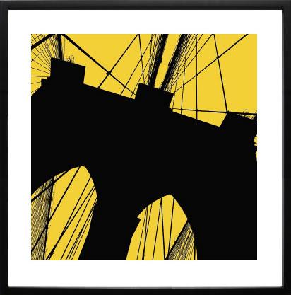 アートパネル アートポスター 絵画 インテリア ポスター タペストリー 壁掛け アートフレーム ウォールアート アートボード モダンアート モノトーン モノクロ アンティーク シンプル 北欧 おしゃれエリン クラーク Brooklyn Bridge (yellow)