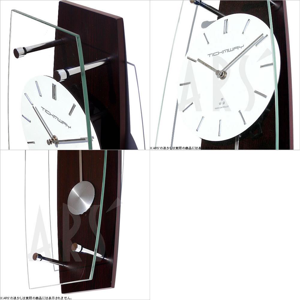 Wall clock /TICKAWAY electric wave pendulum clock dark brown (wall hangings clock / fashion / radio time signal / North Europe / antique / child / pendulum / fashion / housewarming / wall clock)
