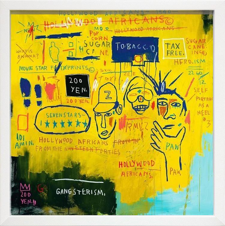 【絵画 アートパネル 壁掛け 専門店】アートフレーム/アートポスター ポップアート ジャン・ミシェル・バスキア Hollywood Africans(アートパネル アートフレーム アートポスター 北欧 絵画 インテリア ポスター 壁掛け)【0824カード分割】