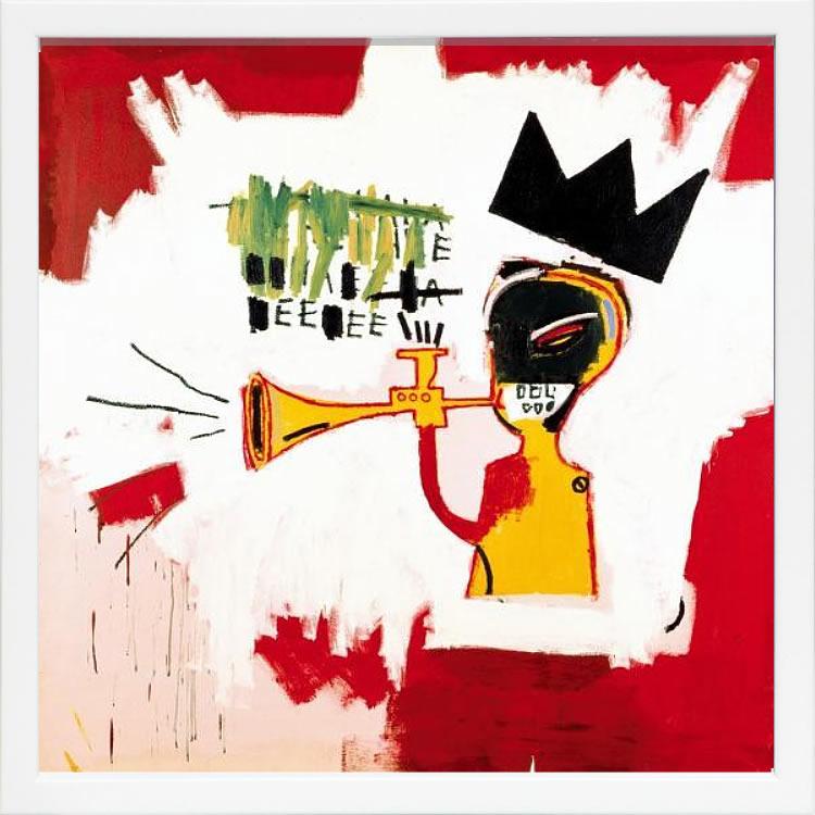 アートパネル アートポスター 絵画 インテリア ポスター タペストリー 壁掛け アートフレーム ウォールアート アートボード ポップアート モノトーン モノクロ デザイナーズ アンティーク シンプル モダン 北欧 おしゃれジャン ミシェル バスキア Trumpet