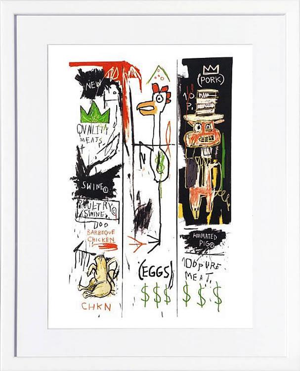 アートパネル アートポスター 絵画 インテリア ポスター タペストリー 壁掛け アートフレーム ウォールアート アートボード ポップアート モノトーン モノクロ デザイナーズ アンティーク シンプル モダン 北欧 おしゃれジャン ミシェル バスキア Quality Meats