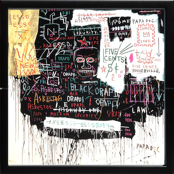 【絵画 アートパネル 壁掛け 専門店】アートフレーム/アートポスター ポップアート ジャン・ミシェル・バスキア Museum Security(アートパネル アートフレーム アートポスター 北欧 絵画 インテリア ポスター 壁掛け)【0824カード分割】
