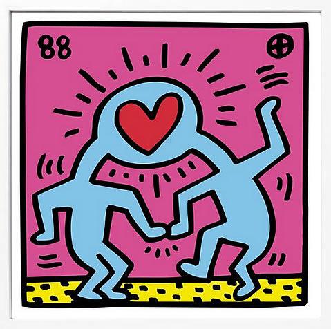 アートパネル アートポスター 絵画 インテリア ポスター タペストリー 壁掛け アートフレーム ウォールアート アートボード ポップアート インテリアアート モノトーン モノクロ アンティーク シンプル 北欧 おしゃれキース へリング Pop Shop (Heart)