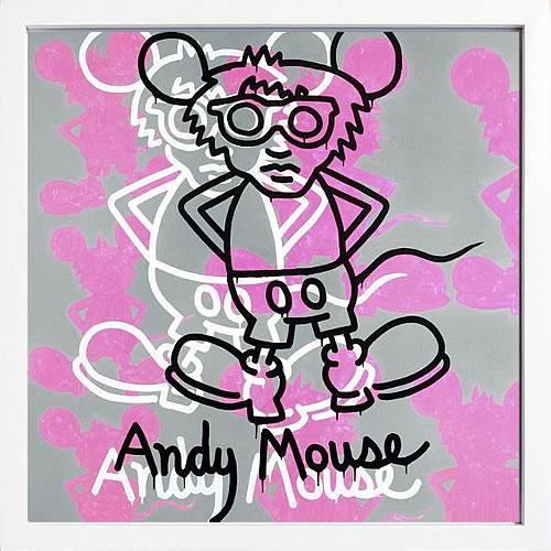 アートパネル アートポスター 絵画 インテリア ポスター タペストリー 壁掛け アートフレーム ウォールアート アートボード ポップアート インテリアアート モノトーン モノクロ アンティーク シンプル 北欧 おしゃれキース へリング Andy Mouse 1985