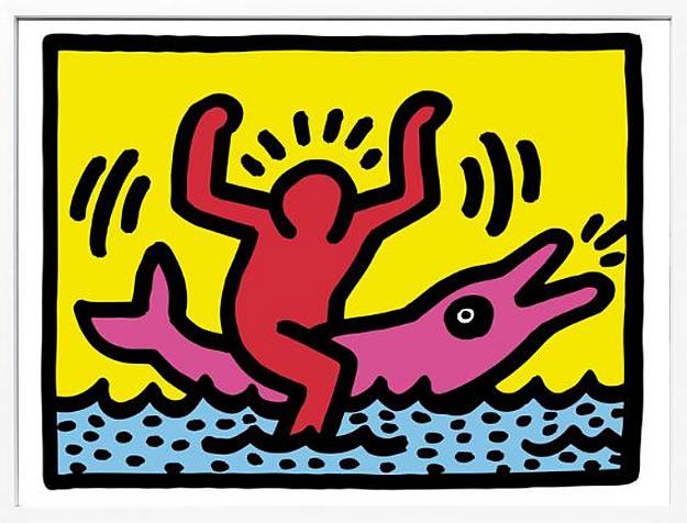 アートパネル アートポスター 絵画 インテリア ポスター タペストリー 壁掛け アートフレーム ウォールアート アートボード ポップアート インテリアアート モノトーン モノクロ アンティーク シンプル 北欧 おしゃれキース へリング Pop Shop (Dolphin Rider)