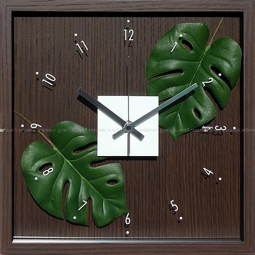 壁掛け時計 掛け時計 ウォールクロック アートフラワークロック 電波時計ではありません おしゃれ シンプル 北欧 木製 かわいい 造花 デザイナーズ アンティーク モダンリーフクロック モンステラ アダンソニー