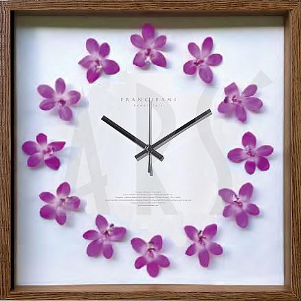 壁掛け時計 掛け時計 ウォールクロック アートフラワークロック 電波時計ではありません おしゃれ シンプル 北欧 木製 かわいい 造花 デザイナーズ アンティーク モダンアートフラワークロック デンファレ(ラン)