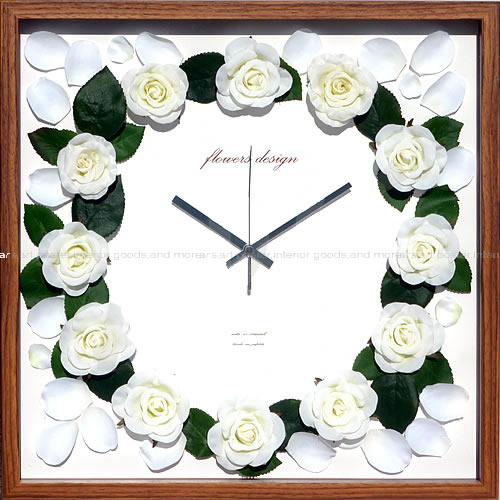 壁掛け時計 掛け時計 ウォールクロック アートフラワークロック 電波時計ではありません おしゃれ シンプル 北欧 木製 かわいい 造花 デザイナーズ アンティーク モダンアートフラワークロック ローズ(クリーム)