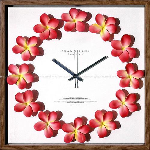 壁掛け時計 掛け時計 ウォールクロック アートフラワークロック 電波時計ではありません おしゃれ シンプル 北欧 木製 かわいい 造花 デザイナーズ アンティーク モダンアートフラワークロック プルメリアクロック フクシア