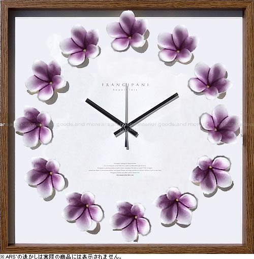壁掛け時計 掛け時計 ウォールクロック アートフラワークロック 電波時計ではありません おしゃれ シンプル 北欧 木製 かわいい 造花 デザイナーズ アンティーク モダンアートフラワークロック プルメリアクロック パープル