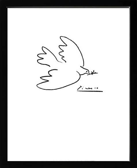 アートパネル アートポスター 絵画 インテリア ポスター タペストリー 壁掛け アートフレーム ウォールアート アートボード モダンアート モノトーン モノクロ アンティーク シンプル 北欧 おしゃれパブロ ピカソ 花とハト