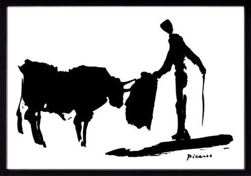 アートパネル アートポスター 絵画 インテリア ポスター タペストリー 壁掛け アートフレーム ウォールアート アートボード モダンアート モノトーン モノクロ アンティーク シンプル 北欧 おしゃれパブロ ピカソ 闘牛と闘牛士II