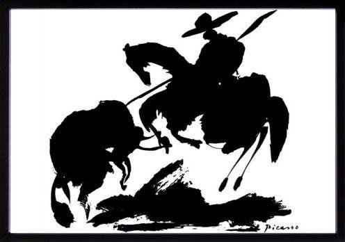 アートパネル アートポスター 絵画 インテリア ポスター タペストリー 壁掛け アートフレーム ウォールアート アートボード モダンアート モノトーン モノクロ アンティーク シンプル 北欧 おしゃれパブロ ピカソ 闘牛と闘牛士I