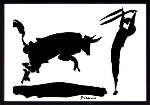 アートパネル アートポスター 絵画 インテリア ポスター タペストリー 壁掛け アートフレーム ウォールアート アートボード モダンアート モノトーン モノクロ アンティーク シンプル 北欧 おしゃれパブロ ピカソ 闘牛と闘牛士III