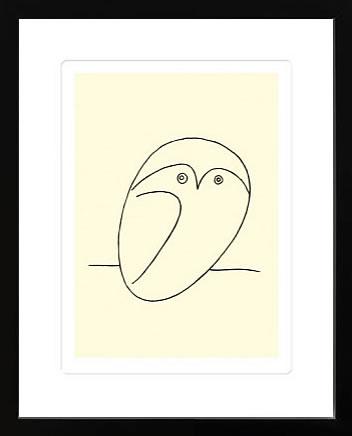 アートパネル アートポスター 絵画 インテリア ポスター タペストリー 壁掛け アートフレーム ウォールアート アートボード モダンアート モノトーン モノクロ アンティーク シンプル 北欧 おしゃれパブロ ピカソ Owl(Silkscreen)