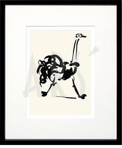 アートパネル アートポスター 絵画 インテリア ポスター タペストリー 壁掛け アートフレーム ウォールアート アートボード モダンアート モノトーン モノクロ アンティーク シンプル 北欧 おしゃれパブロ ピカソ ダチョウ(Silkscreen)