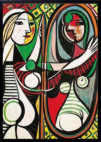 アートパネル アートポスター 絵画 インテリア ポスター タペストリー 壁掛け アートフレーム ウォールアート アートボード モダンアート モノトーン モノクロ アンティーク シンプル 北欧 おしゃれパブロ ピカソ 鏡の前の若い女