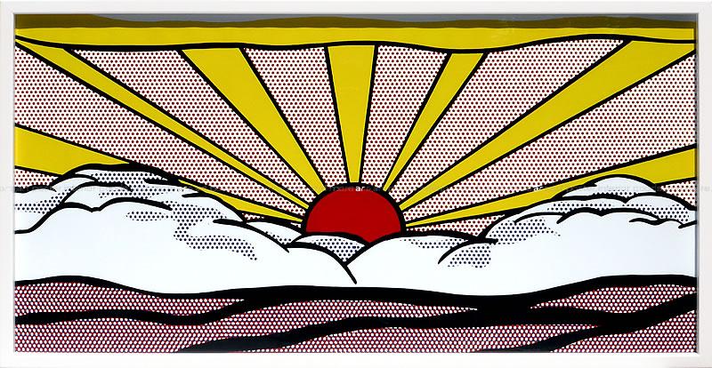 アートパネル アートポスター 絵画 インテリア ポスター タペストリー 壁掛け アートフレーム ウォールアート アートボード ポップアート モノトーン モノクロ モダン 花 北欧ロイ リキテンシュタイン Sunrise, c.1965