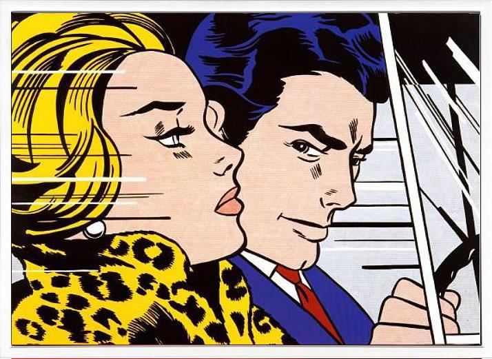 【絵画 アートパネル 壁掛け 専門店】アートフレーム/アートポスター ポップアート ロイ・リキテンシュタインIn the Car, c.1963(アートパネル アートフレーム アートポスター 絵画 インテリア ポスター 壁掛け)