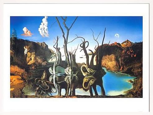 アートパネル アートポスター 絵画 インテリア ポスター タペストリー 壁掛け アートフレーム ウォールアート アートボード モダンアート モノトーン モノクロ アンティーク シンプル 北欧 おしゃれサルバドール ダリ 象の影を映す白鳥