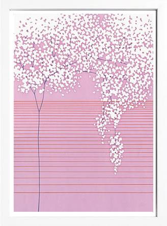 アートパネル アートポスター 絵画 インテリア ポスター タペストリー 壁掛け アートフレーム ウォールアート アートボード モダンアート モノトーン モノクロ アンティーク シンプル 北欧 おしゃれサカイ タカシ Floral with Horizontal Lines