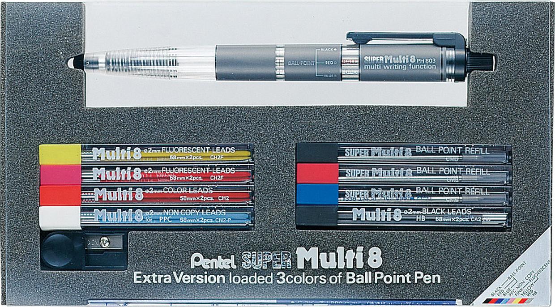 1本に8種類の芯を内蔵したホルダータイプのBPとSP 贈呈 スーパーセール限定ポイント2倍 ぺんてる スーパーマルチ8 PH803ST ホルダー ボールペン シャープペン プレゼント 色鉛筆 ギフト 蛍光芯 新入学 多機能ペン ボールペン芯 お祝い 『4年保証』