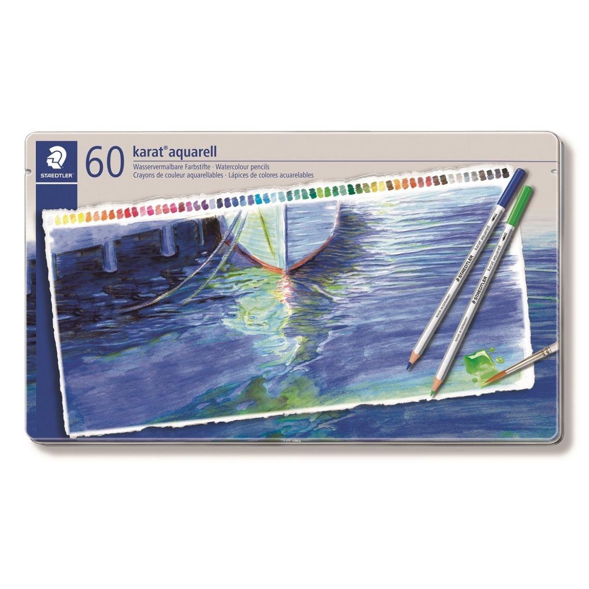 描いた後に水でなぞると水彩画に! 【1日限定ポイント5倍+11%OFFクーポン】 【日本正規品】 ステッドラー (STAEDTLER) カラトアクェレル 水彩色鉛筆 60色セット 125M60