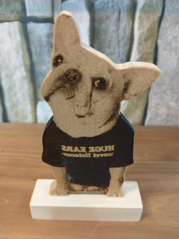 木の板にレーザー彫刻(焼き付け)しています。両面タイプになっています。プライスカードやウェルカムボードなどにも ペット焼き絵 メッセージ立て(両面タイプ) 立体 オーダー ペット 似顔絵 愛犬 犬グッズ プレゼント サプライズ ウッドバーニング