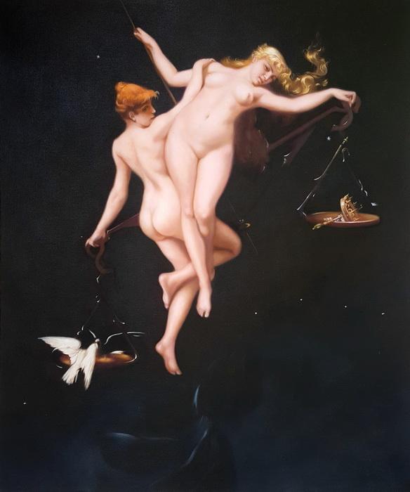 油絵 Falero Luis Ricardo_十二宮の天秤