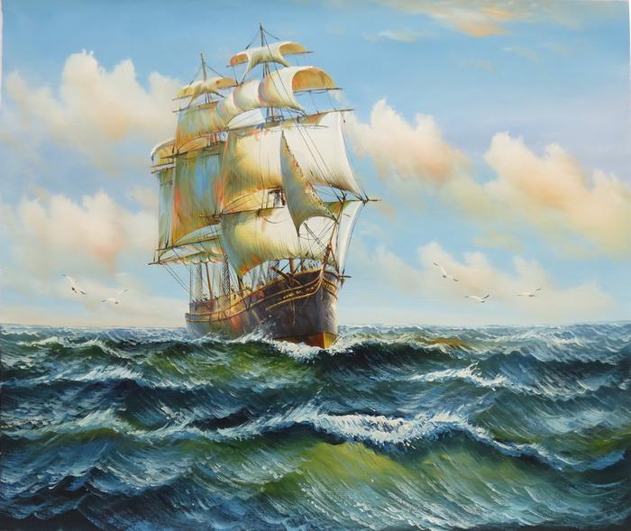 特価油絵 帆船